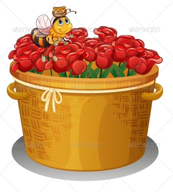 Bee at a Basket full of Roses