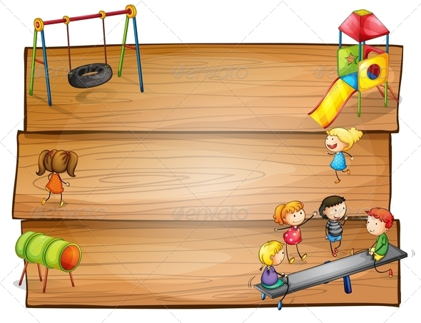 GraphicRiver Empty Wooden Signboards with Kids Playing 8154654