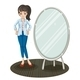 Girl standing beside Mirror