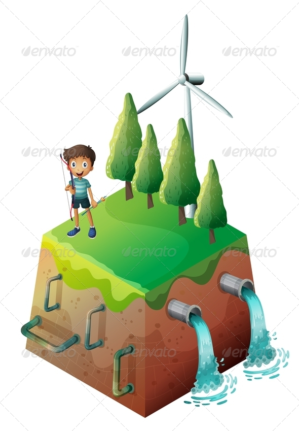 GraphicRiver A Boy Holding a Bow at the Top of the Drainage 8154796