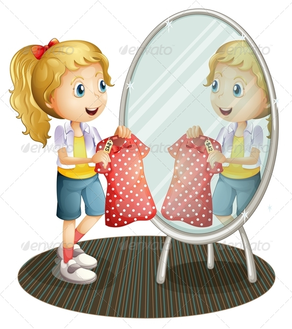 GraphicRiver Girl holding Red Dress in front of Mirror 8155102