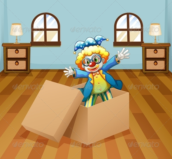 GraphicRiver Clown inside a Box 8155291