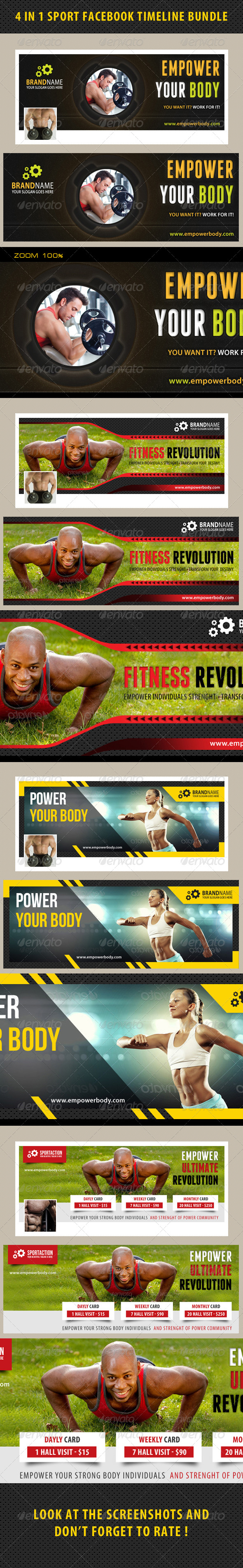 GraphicRiver 4 in 1 Sport Facebook Timeline Bundle 01 8155297