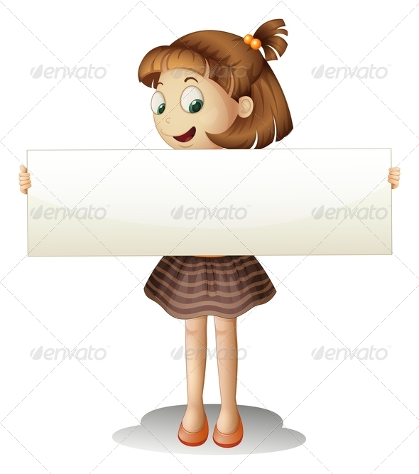 GraphicRiver A Smiling Young Girl Holding an Empty Cardboard 8155378