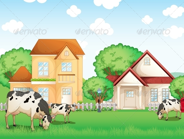 GraphicRiver Three Cows Eating in Front of the Neighborhood 8155435