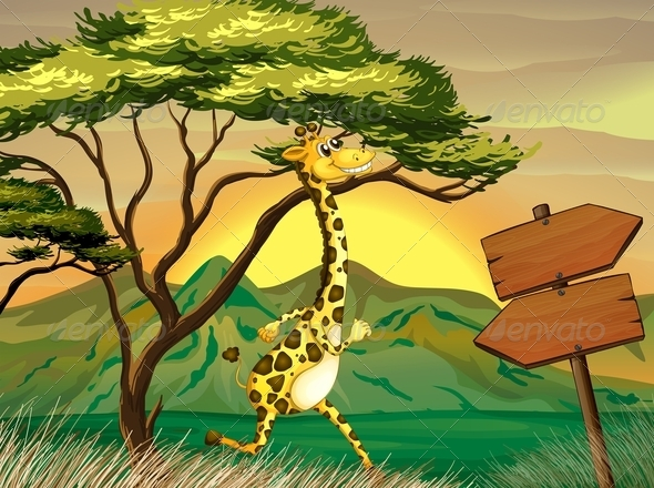 GraphicRiver Giraffe following the Wooden Arrow Guide 8155575