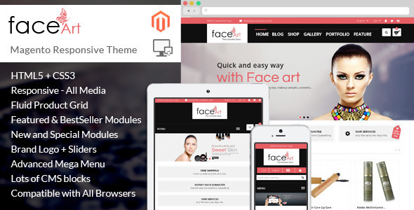 ThemeForest Face Art Magento Responsive Theme 8155588