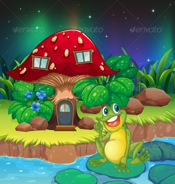 GraphicRiver A Frog Sitting on a Waterlily near the Mushroom 8155589