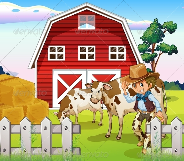 GraphicRiver A Cowboy Inside the Farm with Cows and a Barnhouse 8155698