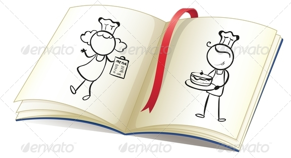 Drawing Book with an Image of Chefs
