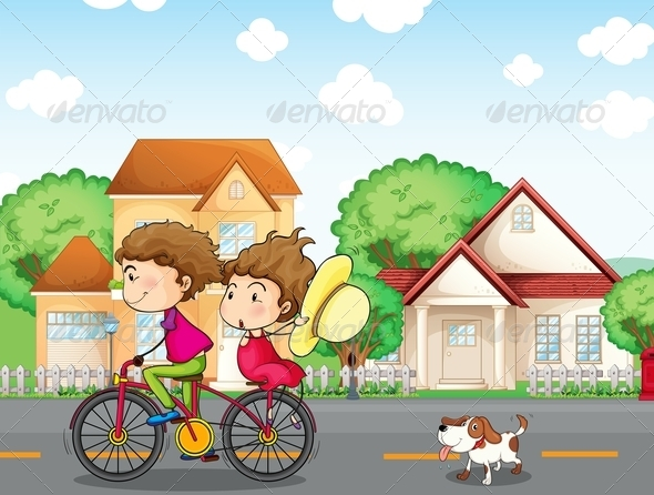 GraphicRiver A Boy and a Girl Biking Followed by a Dog 8155720