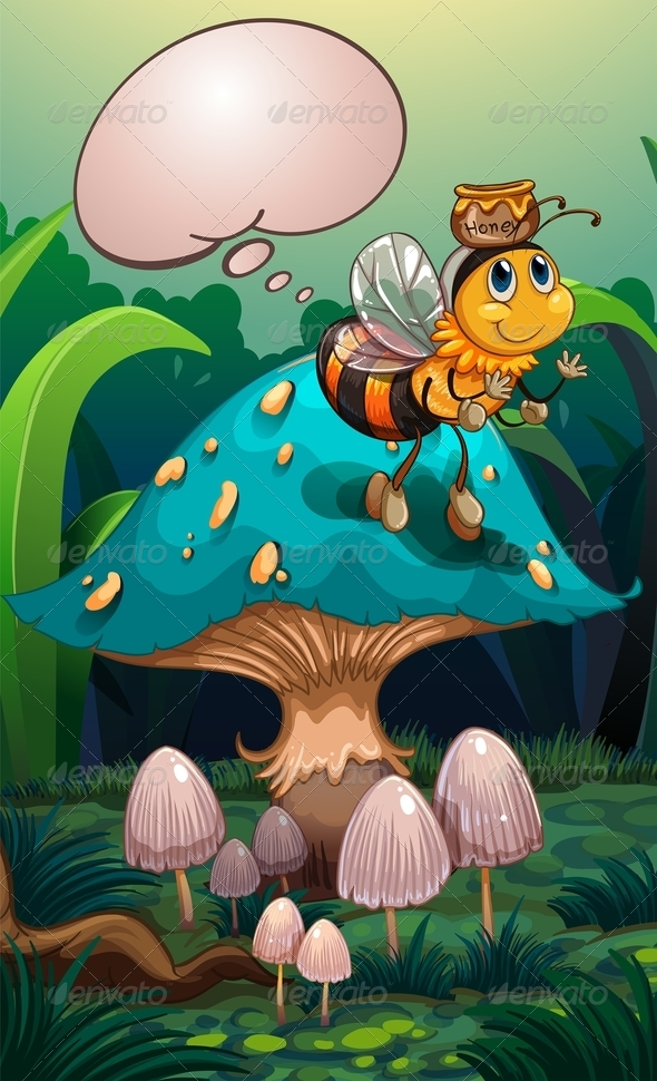 GraphicRiver A Bee with a Pot of Honey Above its Head 8155741