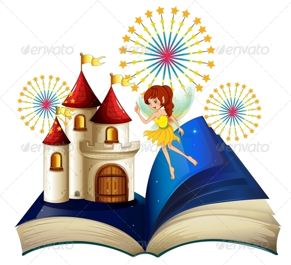 GraphicRiver A Storybook with a Flying Fairy near the Castle 8155790