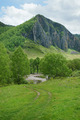 Beautiful alpine landscape with a high cliff and river at the bottom - PhotoDune Item for Sale