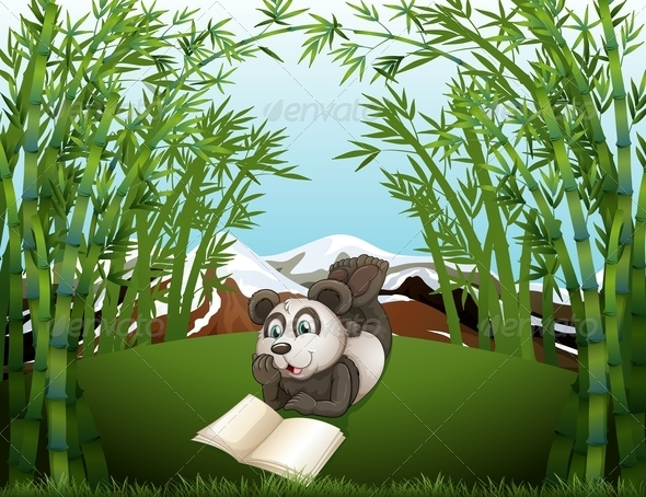 GraphicRiver A Panda Reading at the Hilltop with Bamboos 8155826