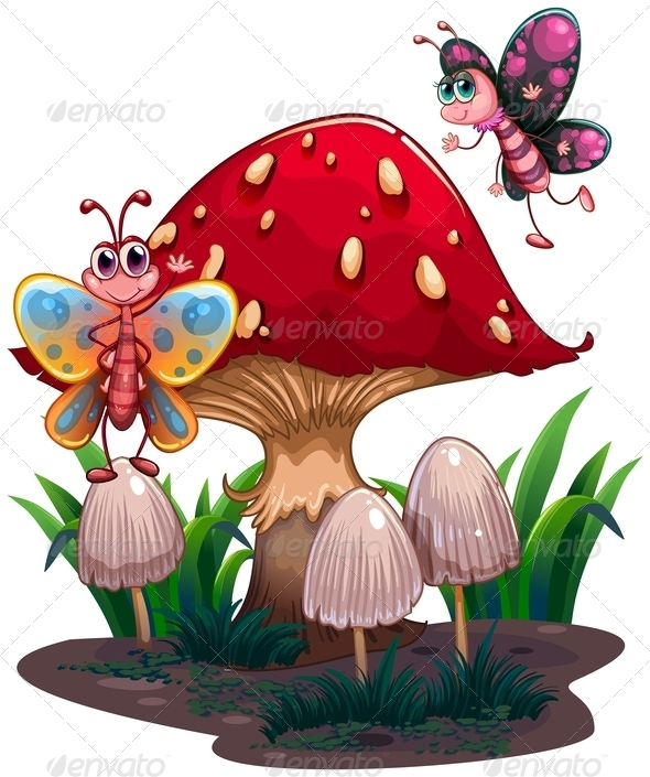 GraphicRiver Butterflies Flying Near a Giant Mushroom 8155827