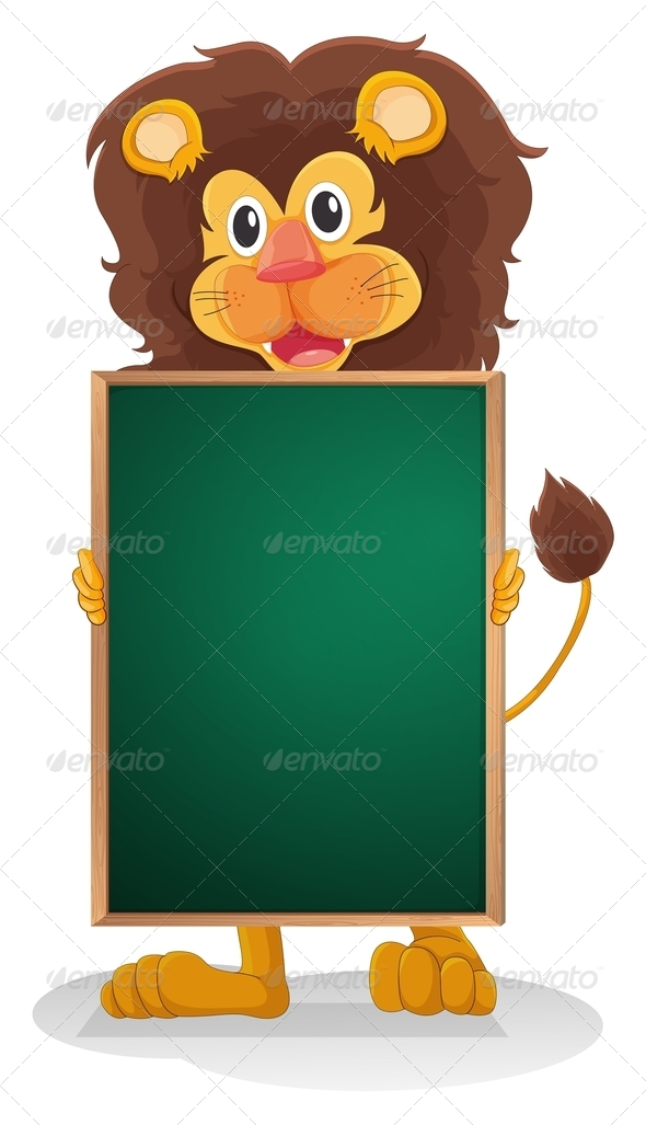 GraphicRiver A Smiling Lion Holding an Empty Board 8155852