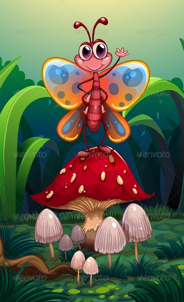 GraphicRiver A Butterfly Standing Above the Big Red Mushroom 8155853
