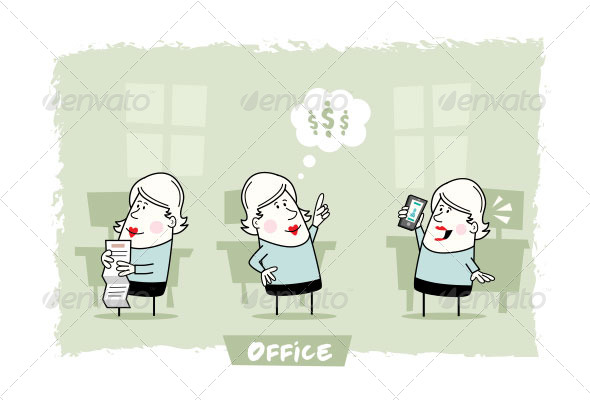 Woman in Office Character Set