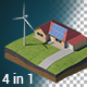 Green Energy Isometric with Alpha