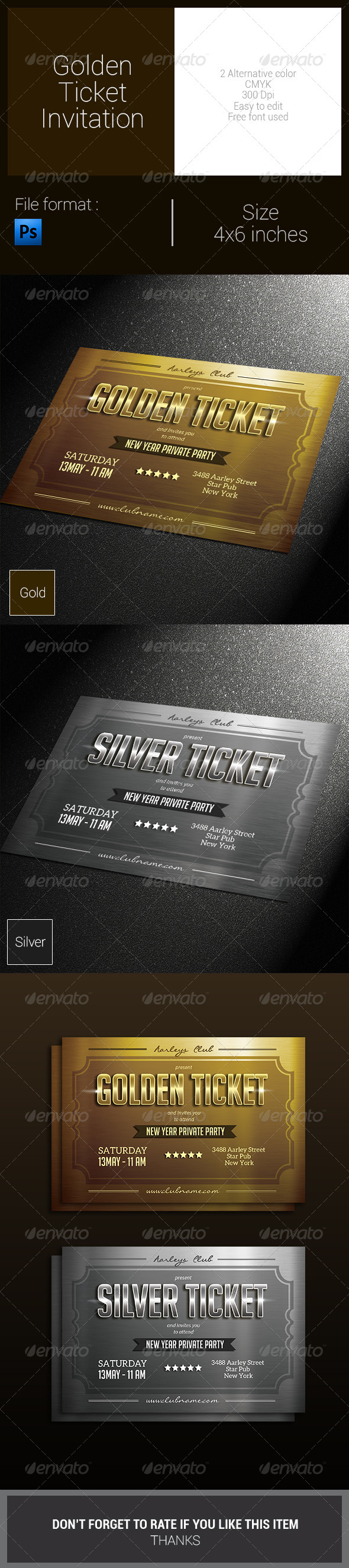 GraphicRiver Golden Ticket Invitation 8156197