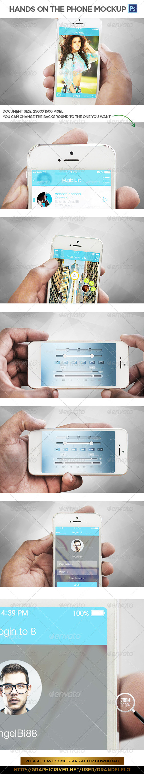 GraphicRiver Hands on the Phone Mockup 8156380