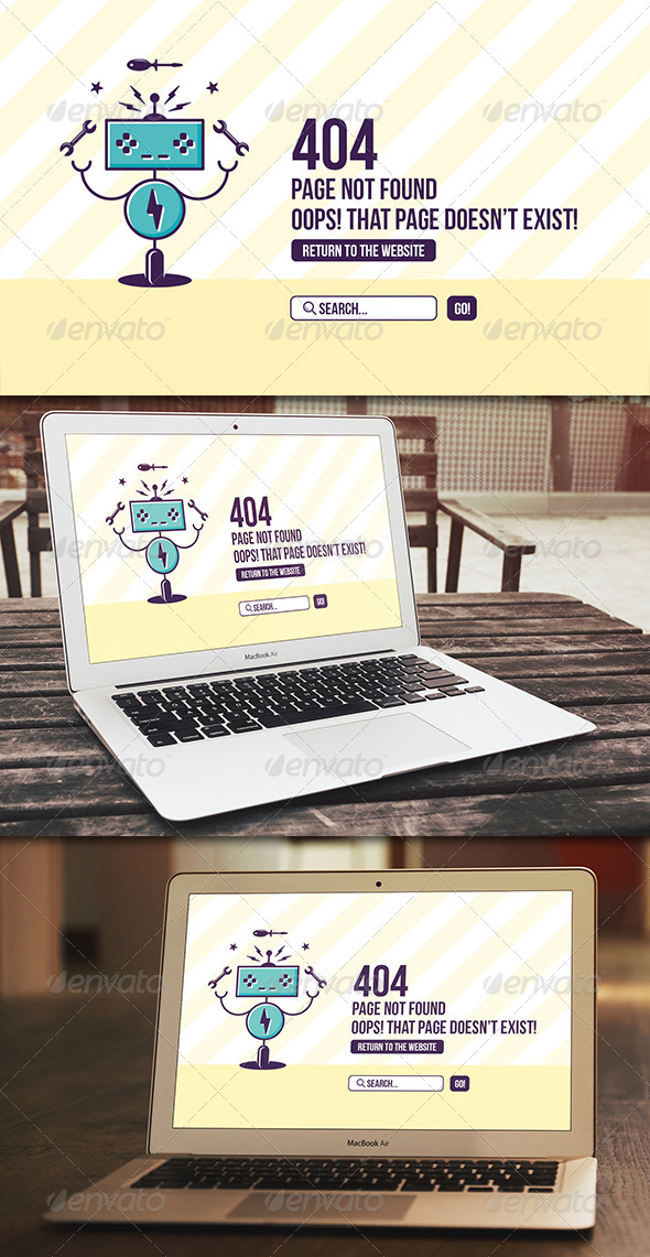 GraphicRiver Robot 404 Error Page 8156850