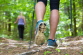 Young couple hiking in nature. Sport and exercise.