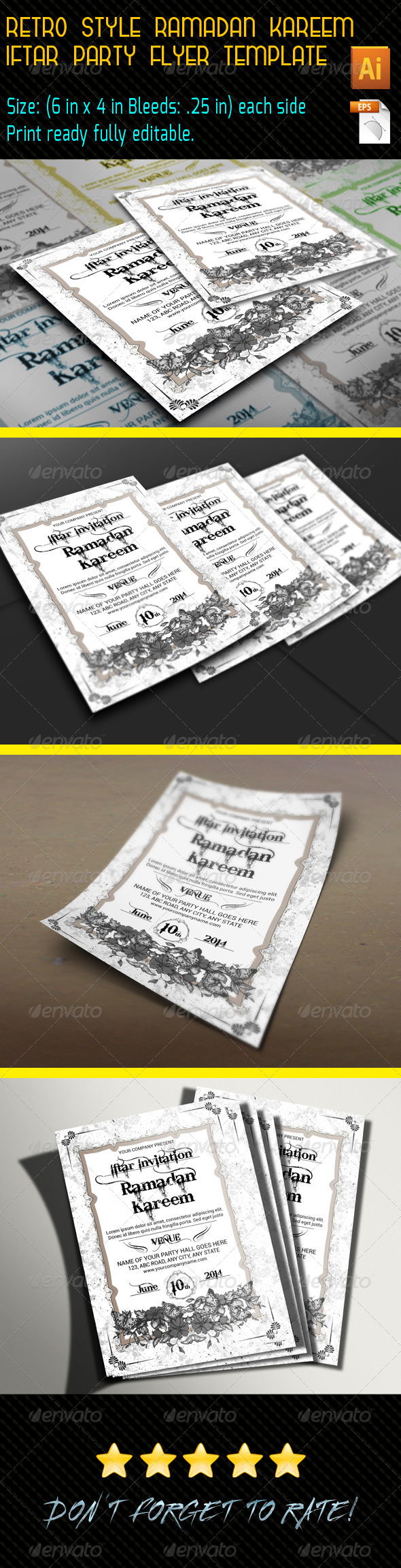 GraphicRiver Retro Style Ramadan Kareem Flyer Template 8157092