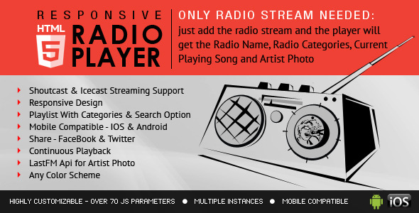 CodeCanyon Radio Player With Playlist Shoutcast and Icecast 8157195