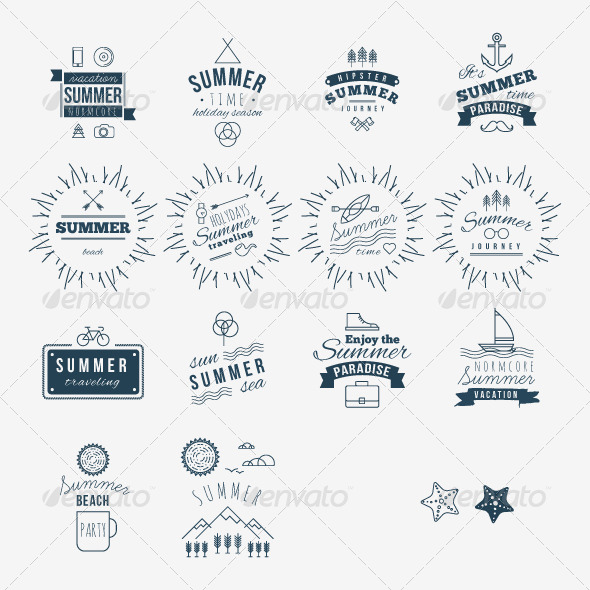 GraphicRiver Retro Hand Drawn Elements for Summer 8157215