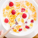 Top view of the plate with cereals, milk and strawberry - PhotoDune Item for Sale