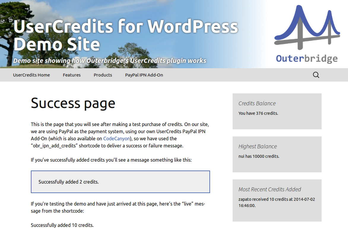 UserCredits for WordPress - PayPal IPN Add-On