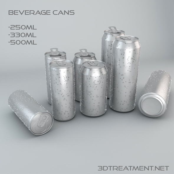Beverage Cans In 3 Sizes - 3DOcean Item for Sale