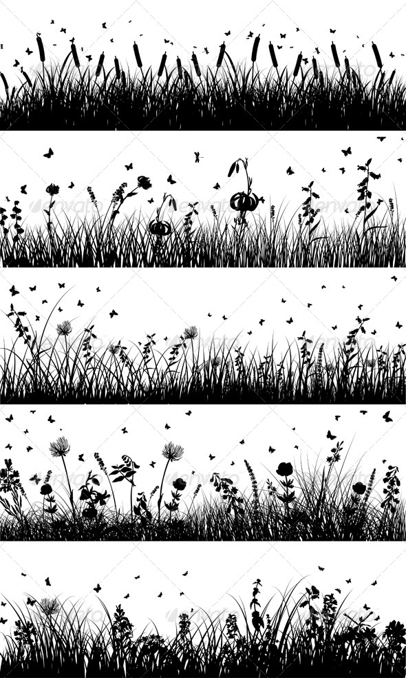 GraphicRiver Meadow Silhouette 8159001
