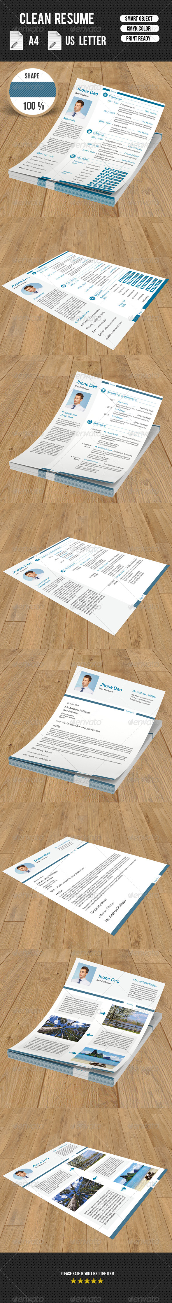 GraphicRiver Clean Resume 8159134
