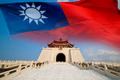 chiang kai shek memorial hall with Taiwan flag - PhotoDune Item for Sale
