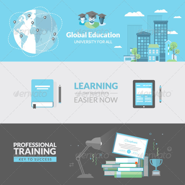 GraphicRiver Flat Design Concepts for Education 8159906