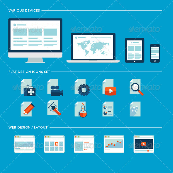 GraphicRiver Flat Design Icons for Web Development 8159931