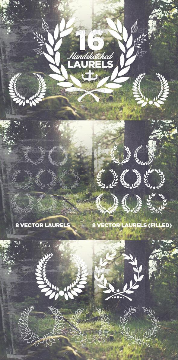 GraphicRiver 16 Handsketched Vector Laurels 8159995