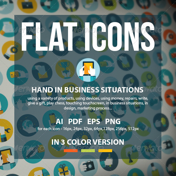 GraphicRiver Set of Flat Design Hands Icons 8160141