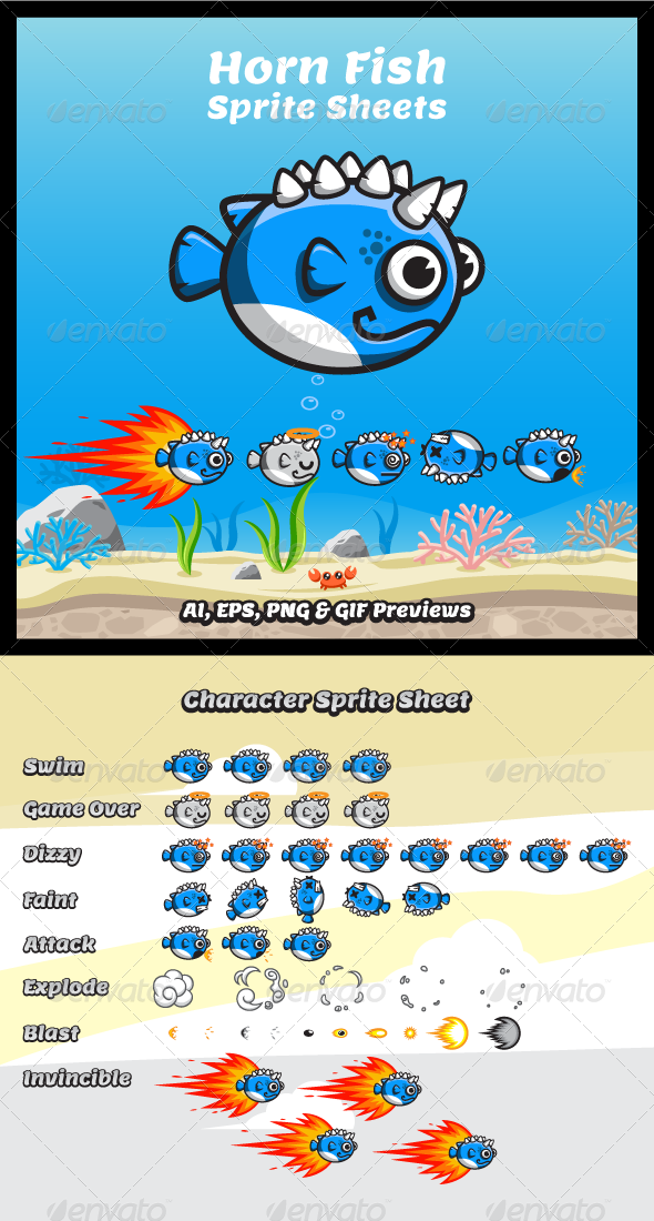 GraphicRiver Game Character Horn Fish Sprite Sheets 8160221