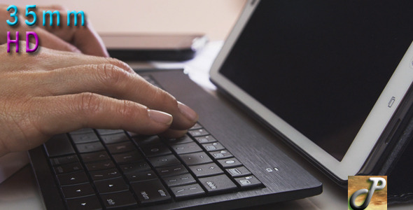 Woman Hands Using Tablet Keyboard
