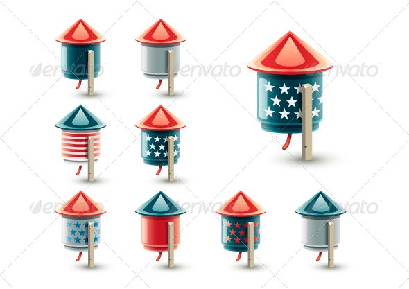 GraphicRiver USA Cartoony Fireworks 8160466