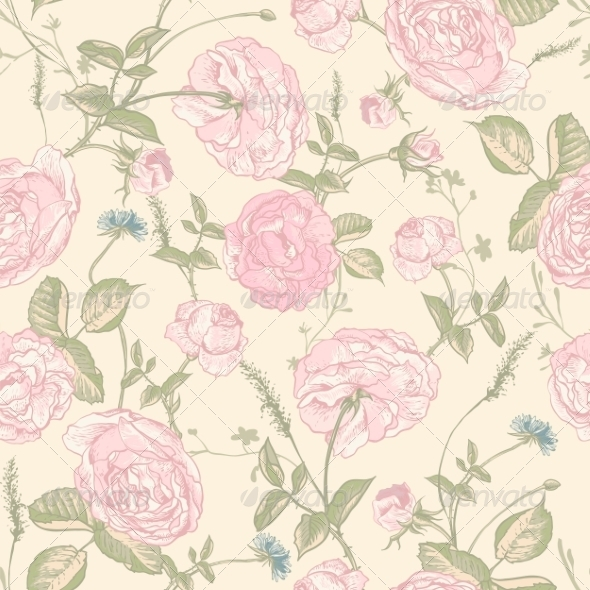 GraphicRiver Beautiful Vintage Seamless Roses Background 8160682