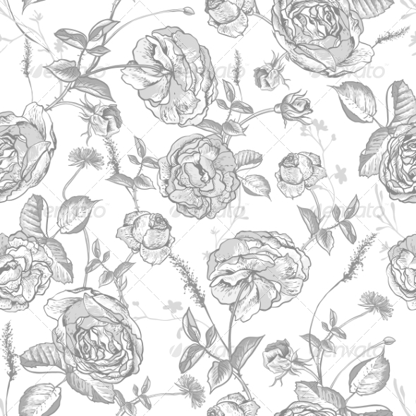 GraphicRiver Beautiful Vintage Seamless Roses Background 8160695