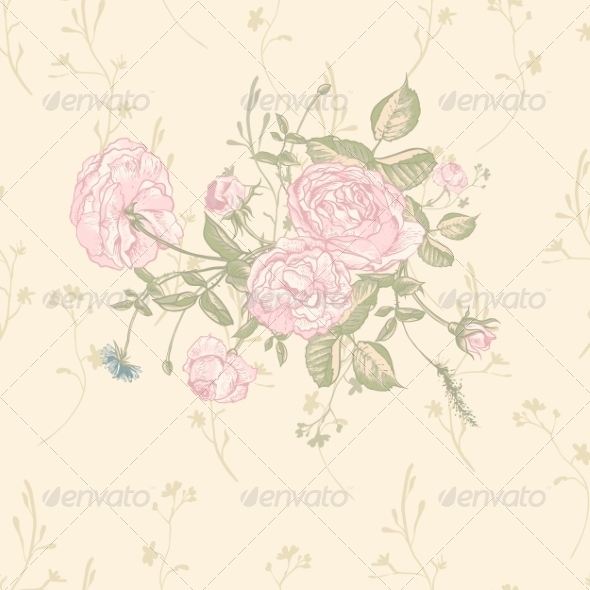 GraphicRiver Vector Floral Greeting Card with Blossom Roses 8160697