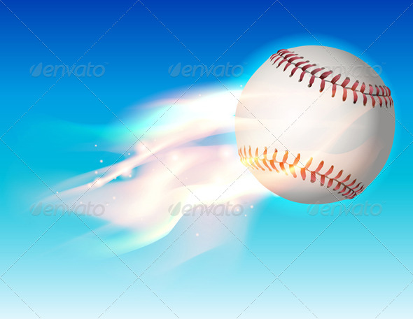 Vector Flaming Baseball in the Sky Illustration