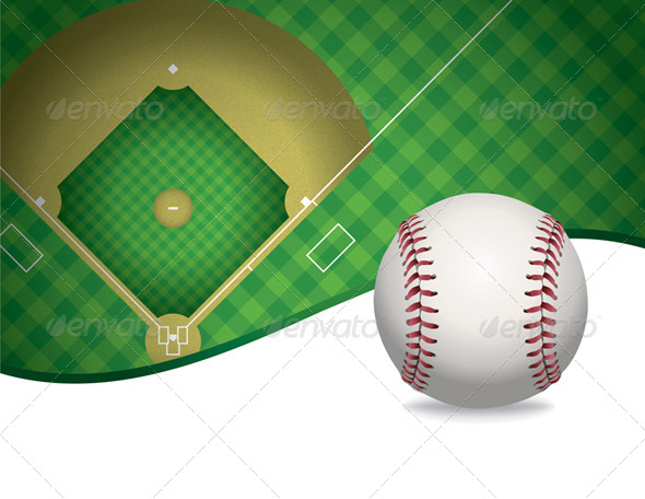 GraphicRiver Vector Baseball and Baseball Field Background 8160817