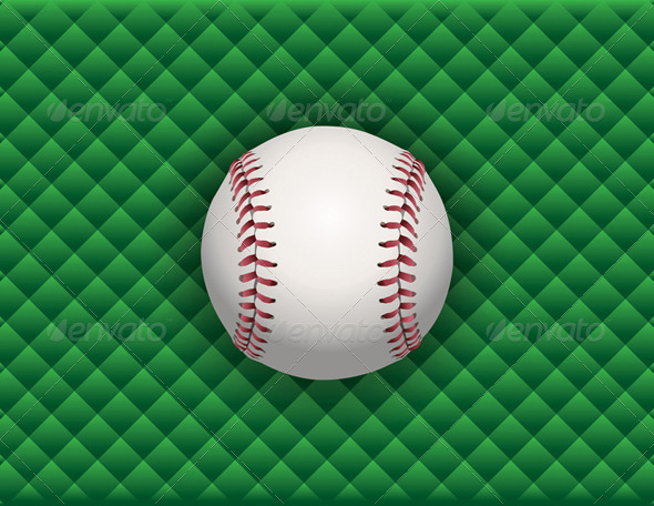 GraphicRiver Vector Baseball on a Green Checkered Background 8160820